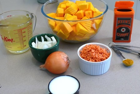 Curried Pumpkin and Red Lentil Soup Ingredients